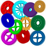 Gear 1. Abstraction consisting of a set of colorful gears on a white background for various necessities Stock Photography