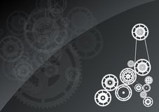 Gear. White silhouette of gear on the background Stock Photography