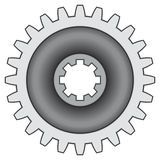 Gear. Pinion gear on white background - blend only Stock Images
