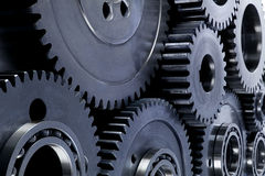 Gear. Blue offset gears with light above Stock Photography