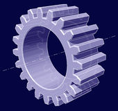Gear. 3D ghosted illustration of a gear, shade rendered with axis lines, etc. On blue background Royalty Free Stock Photos