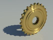 Gear. A 3d illustration of a golden gear Stock Images