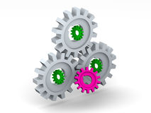 Gear. Many gear. 3d isolated object stock illustration