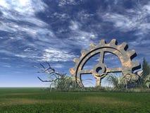 Gear. Rusty gear on a green field - 3d illustration Stock Images