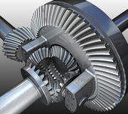 Gear. The differential gear. 3D image Stock Photos