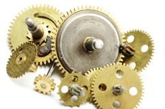 Gear. Close up of rusted watch cogwheels isolated on white Royalty Free Stock Photography