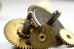 Gear. Close up of rusted watch cogwheels Stock Photo