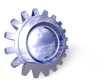 Gear. Nice reflection on a gear in perspective with shadow on white. Easy to isolate royalty free illustration