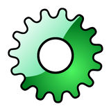 Gear. Green gear shape isolated on white background Stock Photos