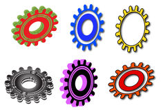 Gear. Six gears in a white background Stock Photo