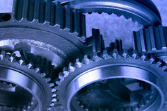 Gear. Steel gears in bluish tint royalty free stock image