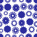 Gear abstract background, different blue gears distributed uneven on white background, seamless vector patterns. Gear abstract background, different blue gears Royalty Free Stock Photos