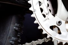 Gear And Wheel Tire Of Mountain Bike Royalty Free Stock Photo