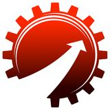Gear with arrow. Isolated silhouette illustrated emblem design Royalty Free Stock Images