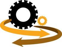 Gear arrow logo. Illustration art of a gear arrow logo with isolated background Stock Photography