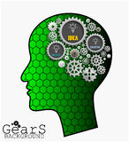 Gear background inside green head brain, idea, innovate and creative Stock Images
