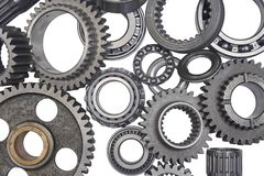 Gear background isolated. The background image is a lot of gears and bearings isolated Royalty Free Stock Photo