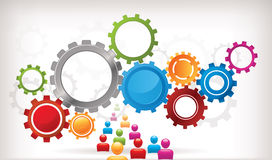 Gear Background. Mechanical abstract background with interlocked cogwheels Stock Illustration