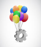 Gear and balloons illustration design Royalty Free Stock Images