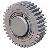 Gear & Bearing. 3D illustration of a gear with two bearings and c clips, isolated on white Stock Photography
