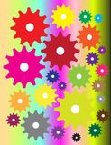 Gear. Beautiful multiple colour gear in colour background Royalty Free Stock Photos