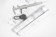 Gear with belt and caliper blueprint Stock Images