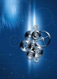 Gear on blue fon. Mechanism of gears on blue fon Stock Photos