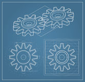 Gear on blueprint. Illustration of Gear drawing on blueprint Stock Images