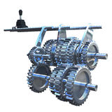 Gear box. The gearbox that uses gears and gear trains to provide speed and torque conversions from a rotating power source to another device Royalty Free Stock Photo