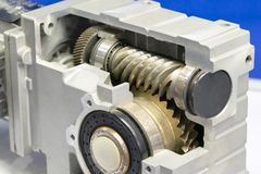 Gear box for increase and reduce speed. precision gear box assembly with servo motor stock photo