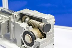 Gear box for increase and reduce speed. precision gear box assembly with servo motor stock image