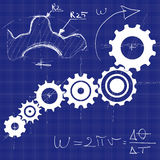 Gear box mechanism blue print with technical sketches Stock Photos