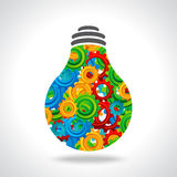 Gear and bulb with colorful background Stock Image