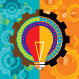 Gear and bulb with colors Stock Photography