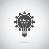 Gear bulb. Light bulb with lightning in form of gear and idea word inside it, creativity, innovation concept stock illustration