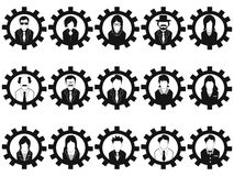 Gear business people avatar icons set vector illustration