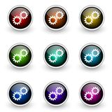Gear button set Stock Photography
