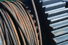 Gear Cable. Steel Cable and Gear close up Stock Photography