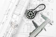 Gear and caliper blueprint Stock Photos
