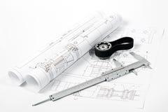 Gear and caliper blueprint. Gear and caliper on blueprint horizontal Stock Photography