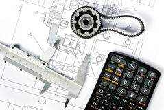 Gear and caliper blueprint close vertical royalty free stock image