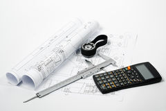 Gear and caliper blueprint horizontal Stock Photo