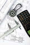Gear and caliper blueprint vertical Stock Photos