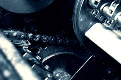Gear and chain detail industrial machinery Royalty Free Stock Photos