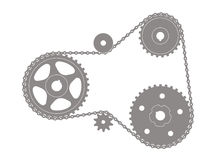 Gear chain transmission Royalty Free Stock Image