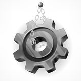 Gear with chain on white Stock Images