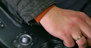 Gear change in the car. Manual transmission. Close up.  stock video footage