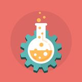 Gear with a chemistry bottle Royalty Free Stock Images