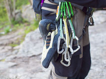 Gear for climbing in the mountains. Royalty Free Stock Images