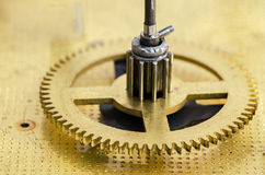 Gear of the clock mechanism. Close up Royalty Free Stock Photography